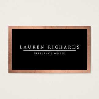 Professional Luxe Rose Gold and Black Business Card