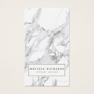 Professional Luxe White Marble Earring Display Business Card