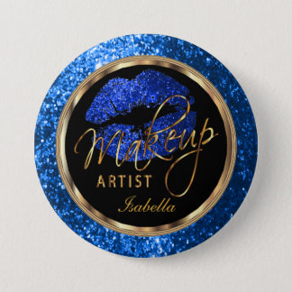 Professional Makeup Artist- Blue, Black and Gold 7.5 Cm Round Badge