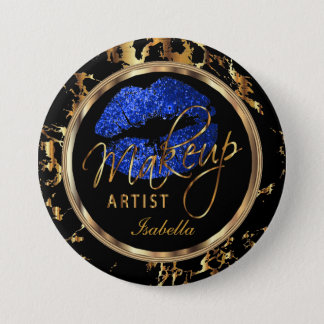 Professional Makeup Artist- Blue, Black and Marble 7.5 Cm Round Badge