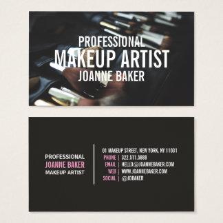 Professional makeup artist brush modern black business card