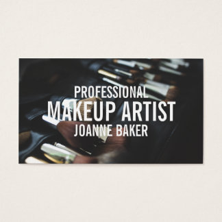 Professional makeup artist brush modern black business card