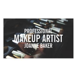 Professional makeup artist brush modern black pack of standard business cards