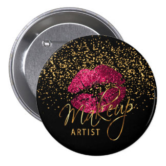 Professional Makeup Artist - Hot Pink Lips 7.5 Cm Round Badge