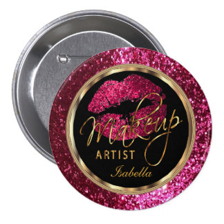 Professional Makeup Artist Pink, Black and Gold 7.5 Cm Round Badge