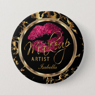 Professional Makeup Artist Pink, Black and Marble 7.5 Cm Round Badge
