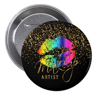 Professional Makeup Artist - Rainbow Lips 7.5 Cm Round Badge