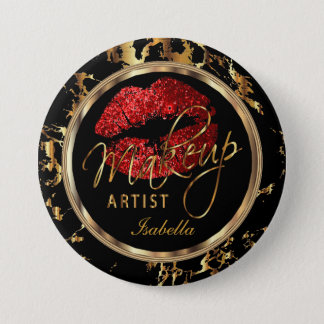 Professional Makeup Artist - Red, Black and Marble 7.5 Cm Round Badge
