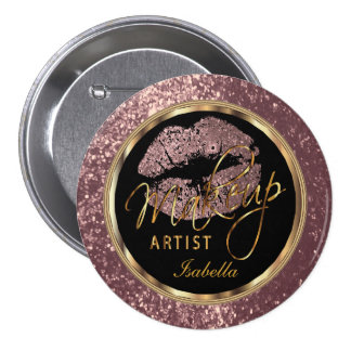 Professional Makeup Artist Rose, Black and Gold 7.5 Cm Round Badge