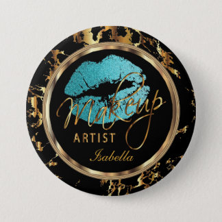 Professional Makeup Artist Teal, Black and Marble 7.5 Cm Round Badge