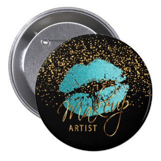 Professional Makeup Artist - Teal Blue Lips 7.5 Cm Round Badge