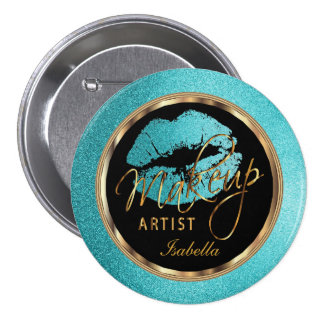 Professional Makeup Artist Teal, Gold and Black 7.5 Cm Round Badge