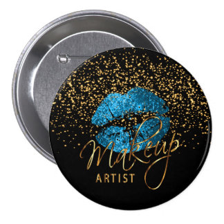 Professional Makeup Artist - Turquoise Blue Lips 7.5 Cm Round Badge