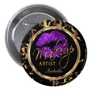Professional Makeup - Purple, Black and Marble 7.5 Cm Round Badge