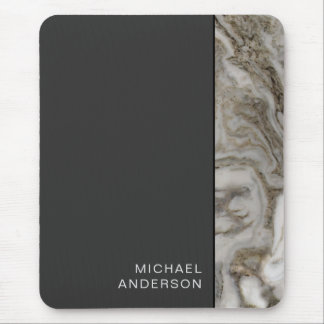 Professional Marble Edge on Flat Black with Name Mouse Mat