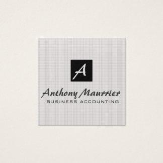 Professional Masculine Plaid Pattern w Monogram Square Business Card