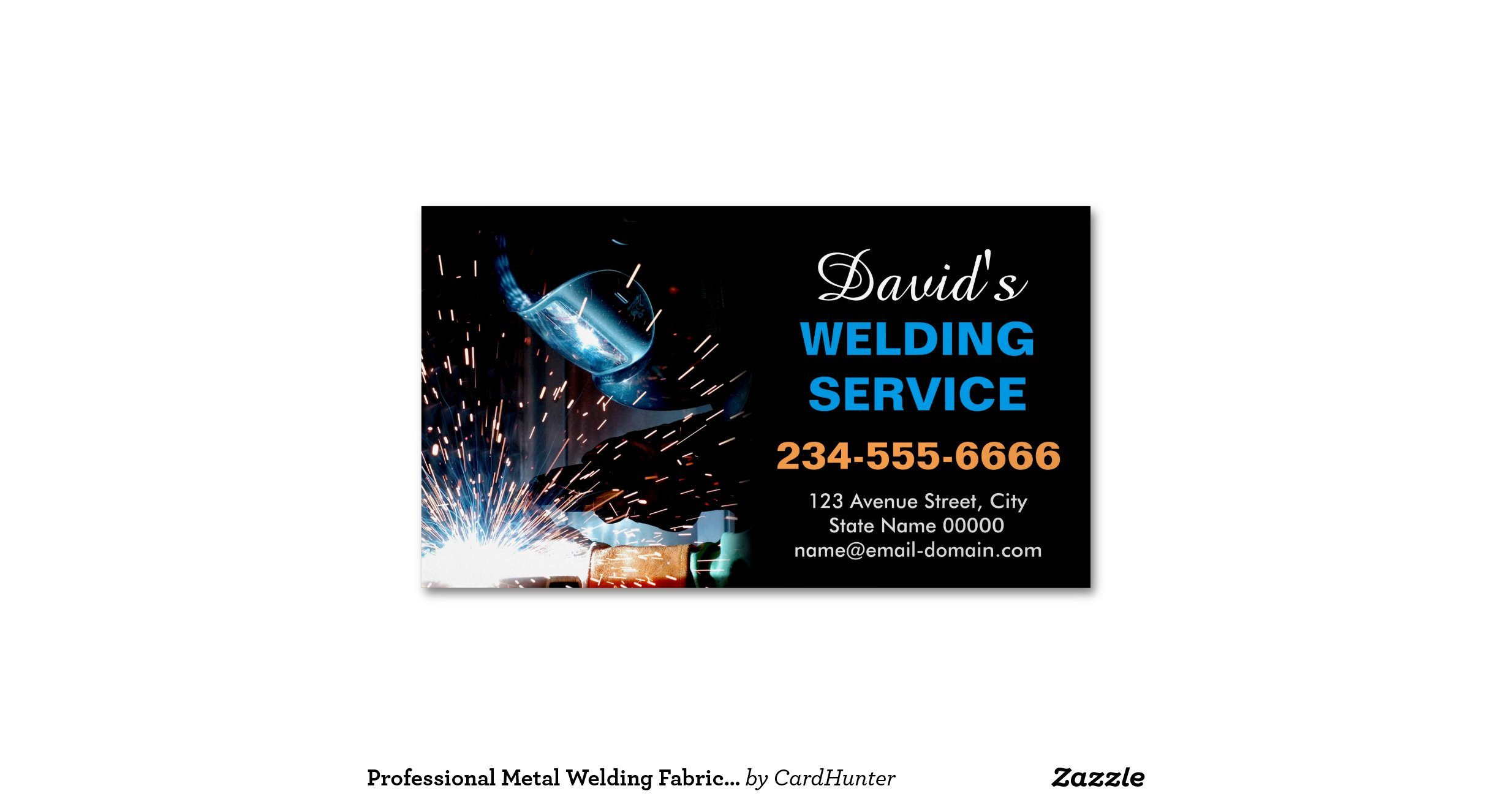 Professional metal welding fabrication contractor magnetic for Welding business card ideas
