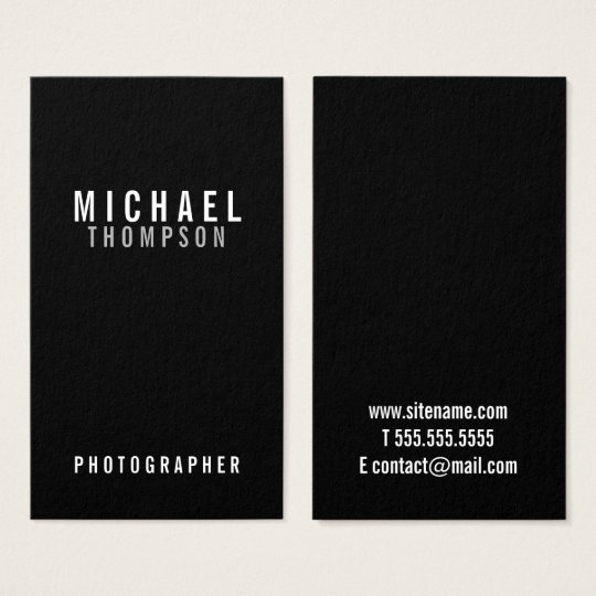 Professional Minimalist Black and White Business Card