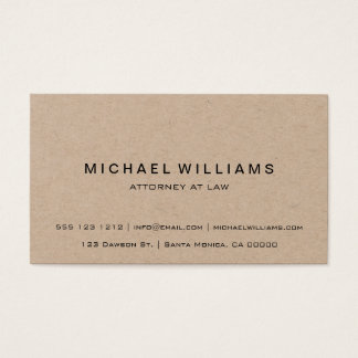 Professional Minimalist Modern Rustic Kraft Business Card