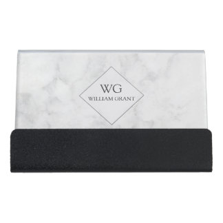 Professional Minimalist White Marble Monogram Desk Business Card Holder