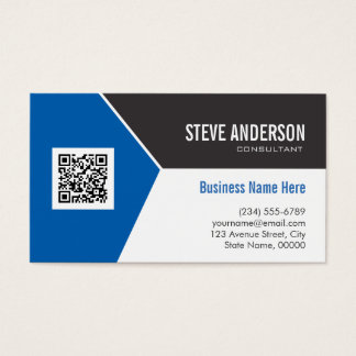 Professional Modern Blue - Corporate QR Code Logo Business Card