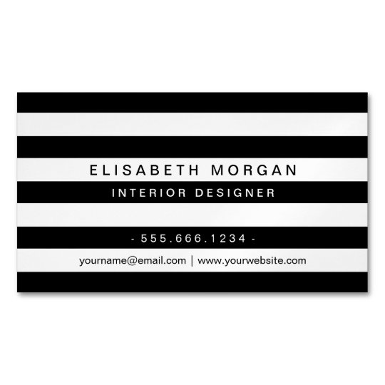 Professional Modern Classic Black White Stripes Magnetic Business