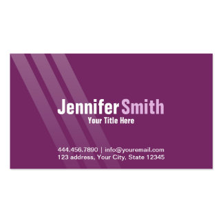 Professional Modern Dark Purple With Stripes Pack Of Standard Business Cards