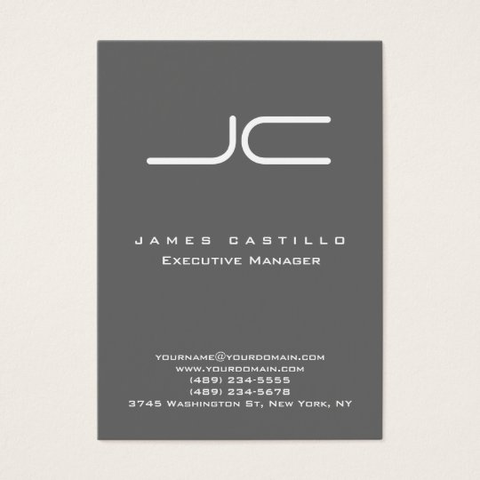 Professional Modern Dim Grey Monogram Business Card