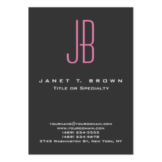 Professional Modern Grey Pink Monogram Pack Of Chubby Business Cards