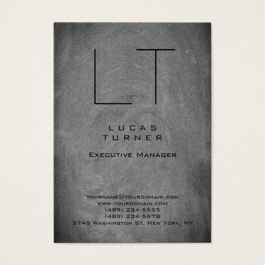 Professional Modern Monogram Grey Chalkboard Business Card