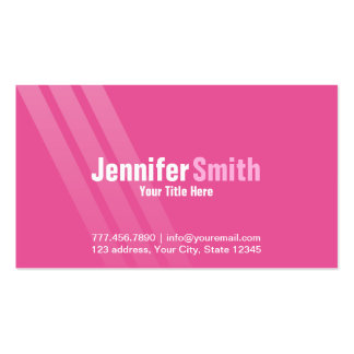 Professional Modern Pink With Stripes Pack Of Standard Business Cards