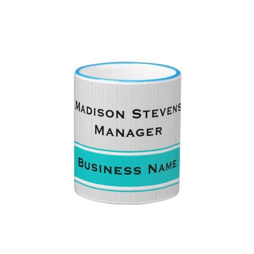 Professional Modern White Pinstripes Teal Business Mug