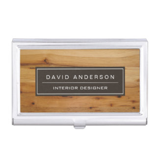 Professional Modern Wood Grain Look Business Card Holder