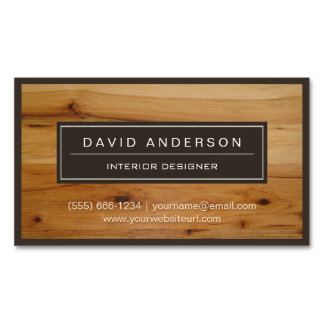 Professional Modern Wood Grain Look Magnetic Business Cards