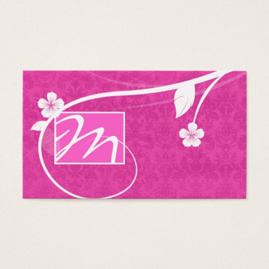 Professional Monogram Business Card Floral Pink