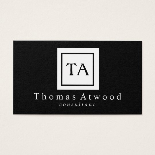 Professional Monogram Business Cards Black White