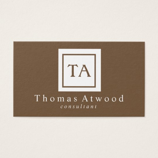 Professional Monogram Business Cards Brown