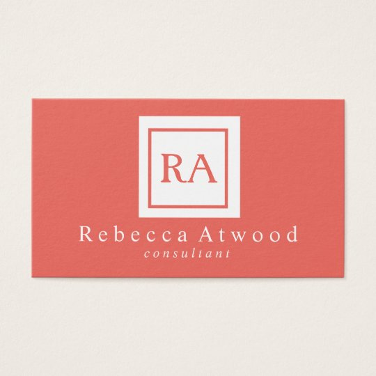 Professional Monogram Business Cards Coral