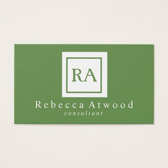 Professional Monogram Business Cards Green