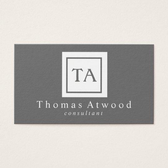 Professional Monogram Business Cards Grey