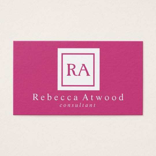 Professional Monogram Business Cards Hot Pink