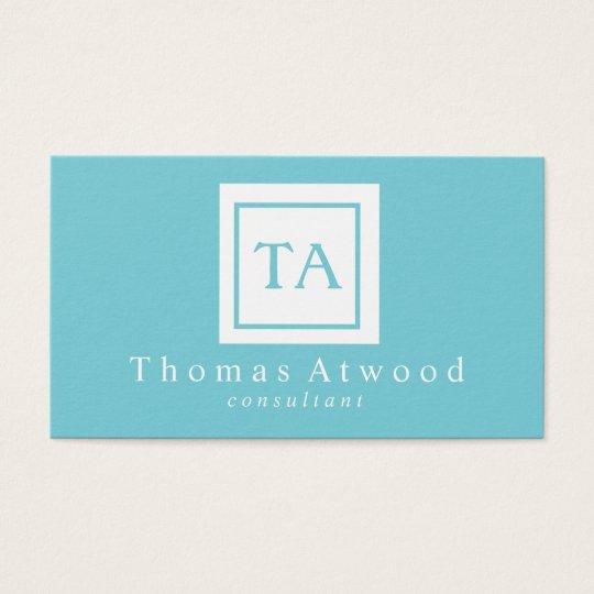 Professional Monogram Business Cards light Blue
