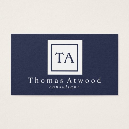 Professional Monogram Business Cards Navy Blue
