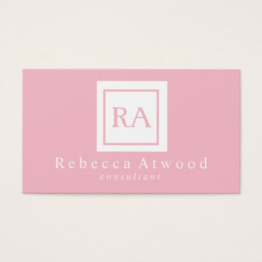 Professional Monogram Business Cards Pink