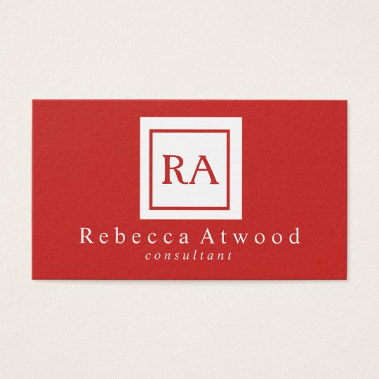 Professional Monogram Business Cards Red