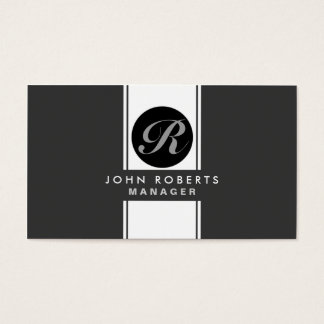 Professional Monogram Elegant Black Groupon Business Card