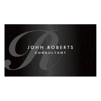 Professional Monogram Elegant Modern Brushed Metal Pack Of Standard Business Cards