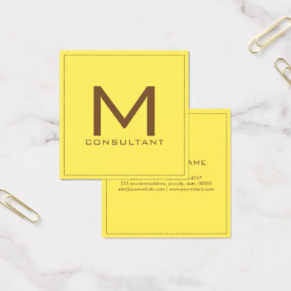 Professional Monogram Elegant Modern Corn Square Business Card
