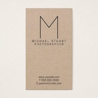Professional Monogram Kraft Paper Business Card