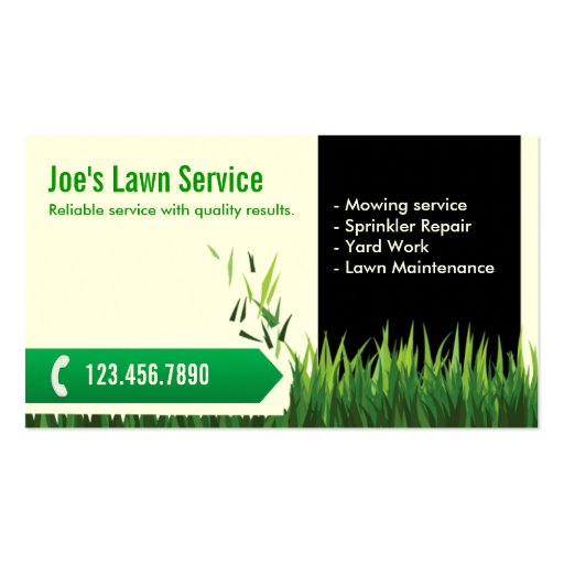 professional mowing  lawn care business card